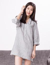 提花条纹麻棉睡裙