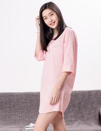 针织条纹睡袍