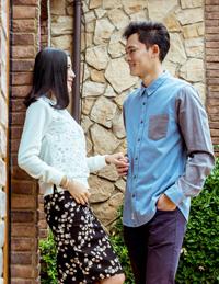 情侣拼接长袖衬衫
