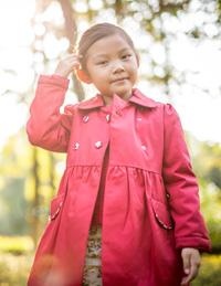 女童双排扣风衣