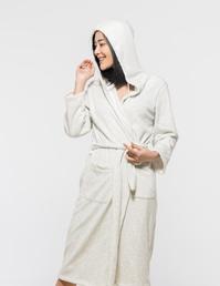 针织单面绒连帽睡袍