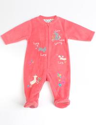 婴儿摇粒绒贴布绣连体衣